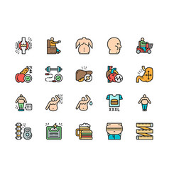 Set obesity flat color line icons fat face vector