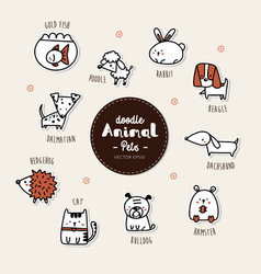 Set pets animal icon hand draw doodle style vector