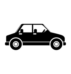 Silhouette in black color of vehicle vector