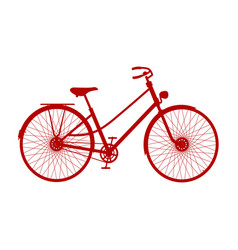 silhouette of vintage bicycle in red design vector image