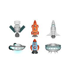 spaceships set rocket space station ufo saucer vector image