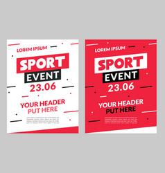 sport flyer design banner poster event vector image