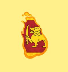 sri lanka - map colored with sri lankan flag vector image