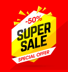 Super sale special offer banner 50 off discount vector