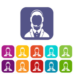 Support phone operator in headset icons set vector