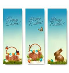 Three banners with Easter backgrounds Eggs in vector image