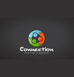 three people conection like jigsaw icon vector image