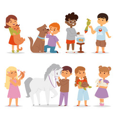 toddler cartoon kids characters petting little pet vector image