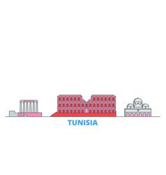 Tunisia line cityscape flat travel city vector