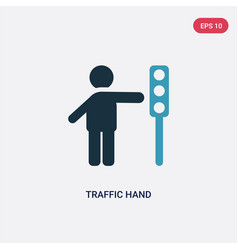Two color traffic hand icon from people concept vector