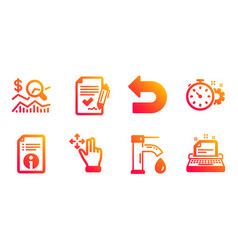 Undo check investment and move gesture icons set vector