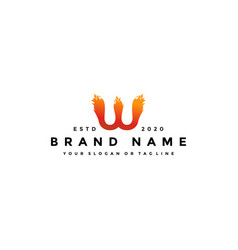 W letter logo fire design vector