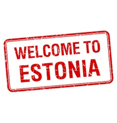 welcome to Estonia red grunge square stamp vector image