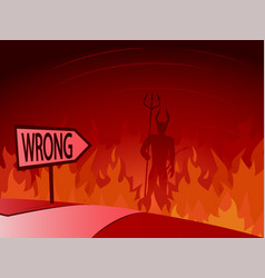 Wrong decision and road to hell vector