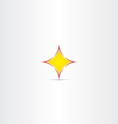 Yellow star button abstract icon vector