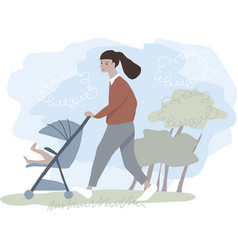 young woman walking with a light stroller vector image