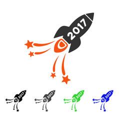 2017 rocket flat icon vector image vector image