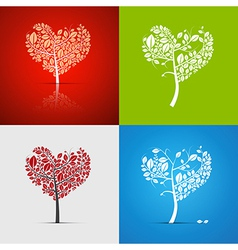 Abstract Heart-Shaped Tree Set on Green Red White vector image