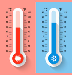 celsius and fahrenheit thermometers measuring vector image vector image