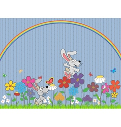 flowers and rabbit vector image