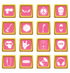rock music icons pink vector image
