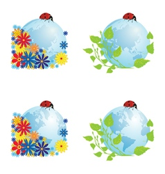 Set of globes with ladybird vector