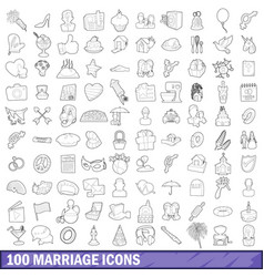 100 marriage icons set outline style vector image