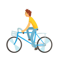 adult man riding bicycle with front basket vector image