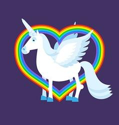 Blue unicorn rainbow heart rainbow lgbt sign vector