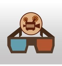 camera movie vintage glasses icon design vector image vector image
