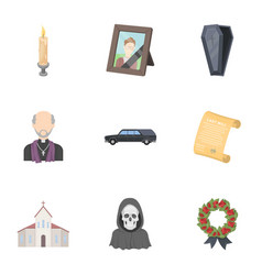 Funeral ceremony cemetery coffins priest vector