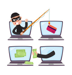 hacker with fishing rod computer phishing attack vector image