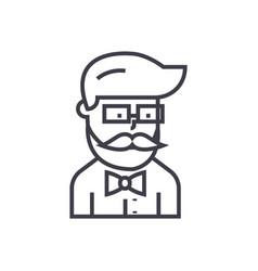 hipster beard man avatar line icon sig vector image
