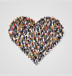 large group of people in the heart sign shap vector image