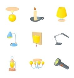 Light for home icons set cartoon style vector image