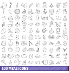 100 meal icons set outline style vector image