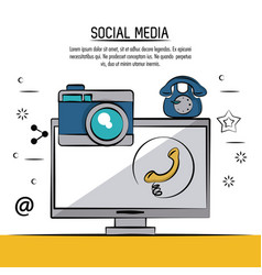 colorful poster of social media with icons phone vector image vector image