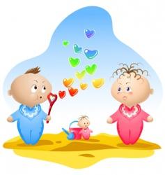 heart shaped bubbles vector image vector image