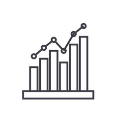 histogram line icon sign on vector image
