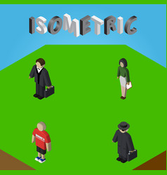 isometric human set of detective investor guy vector image vector image