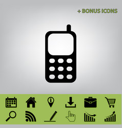 cell phone sign black icon at gray vector image
