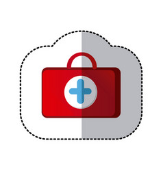 color suitcase healthcare with blue hospital vector image