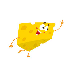cute and funny cheese chunk character pointing up vector image