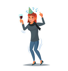 drunk office female worker have fun vector image