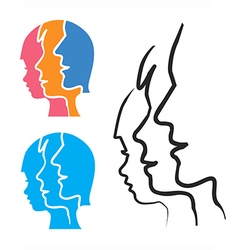 Family stlized head silhouettes vector image