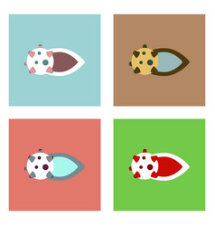 Flat icon design collection flying satellite vector