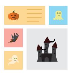 Flat icon halloween set of zombie pumpkin ghost vector