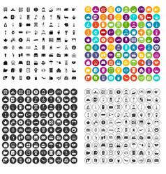 100 inn icons set variant vector