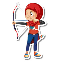 A sticker template with muslim girl holding vector
