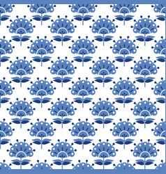 Abstract blue floral retro seamless pattern vector